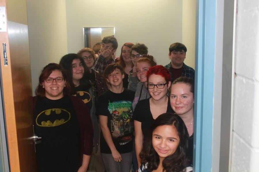 The NPHS Gay Straight Alliance (GSA) inside the school's new gender neutral bathroom.