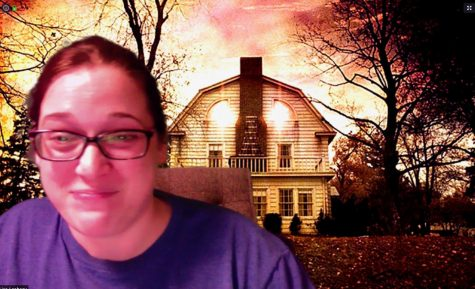 Mrs. Leaheey has fun using her favorite film stills as backgrounds in Zoom.