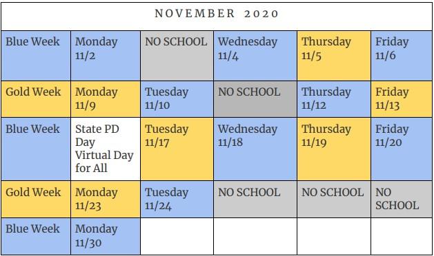 November Hybrid Learning Schedule