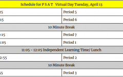 Alternate Text Not Supplied for PSAT Schedule.